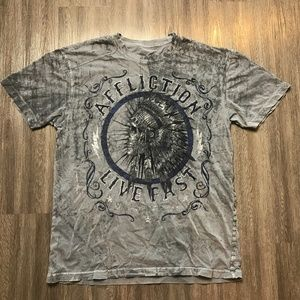 Affliction Distressed Live Fast Indian T-Shirt